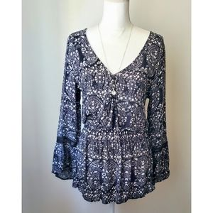 American Eagle Outfitters Blue White Romper Shorts